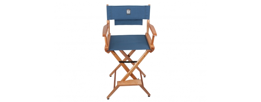 Central Video -  Chaises réalisateur -  Porta Brace Location Chair | Walnut Finish, Signature Blue Seat | 30-inch  Porta Brace