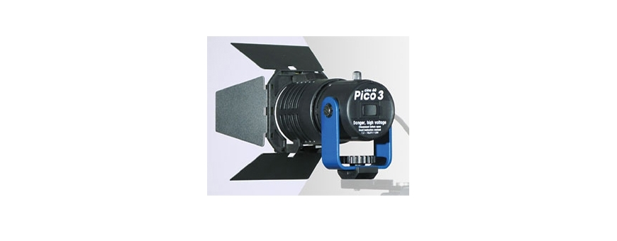 Central Video -  Minettes HMI -  Torche PICO 3 HMI - XLR 4  Torche PICO 3 HMI - D-Tap  Chassis 4 volets pour PICO 3
